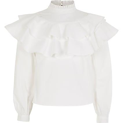 Girls white high neck ruffle blouse
