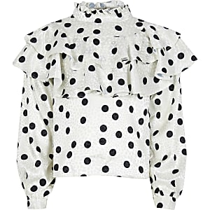 Girls white high neck spot top