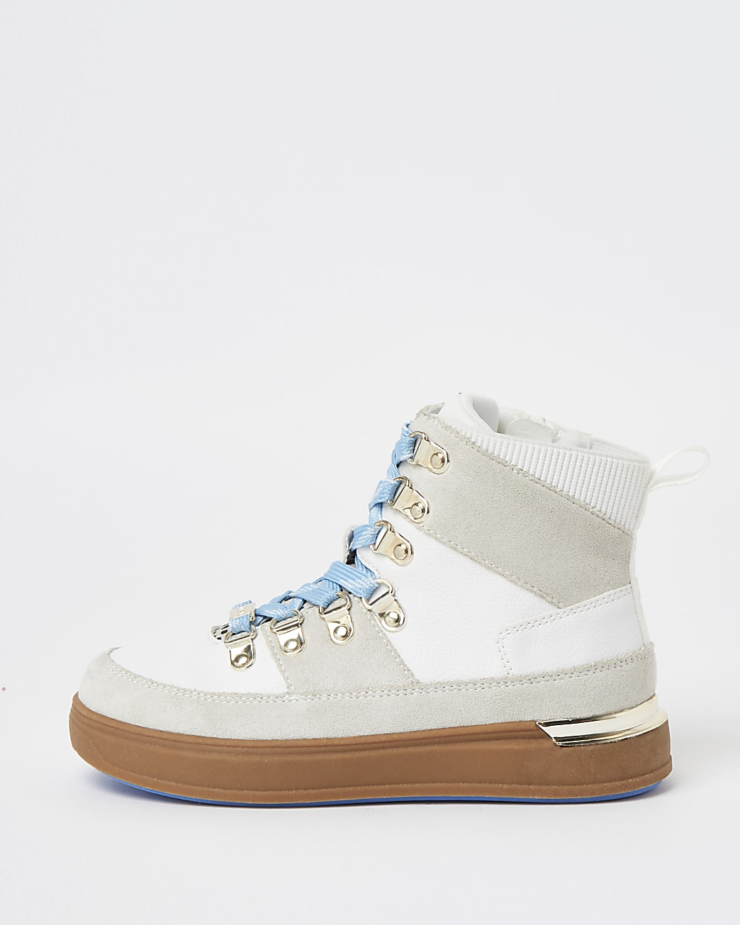 Girls white hiker high top trainers
