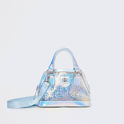 Girls white holographic RI tote bag