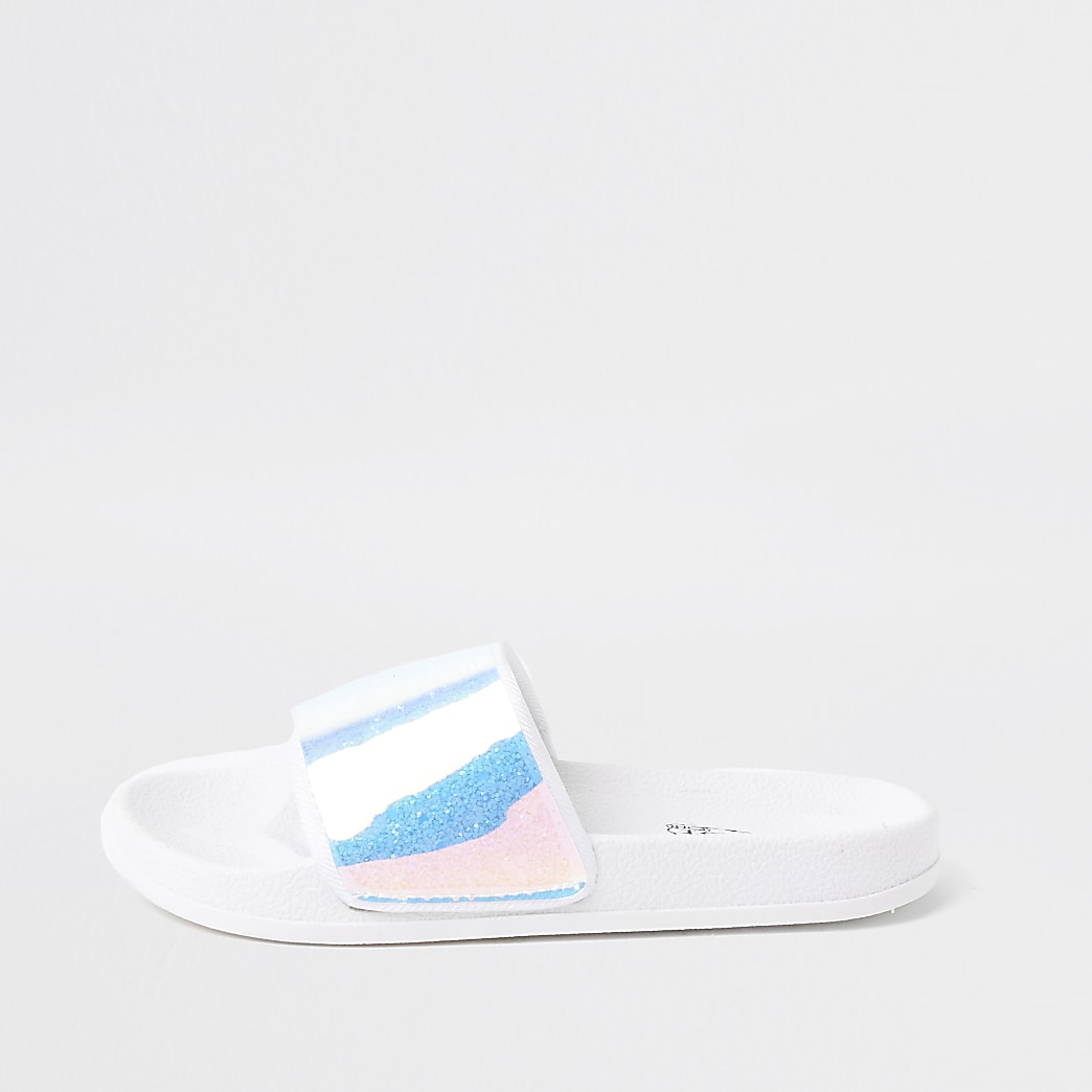 Girls white holographic slider