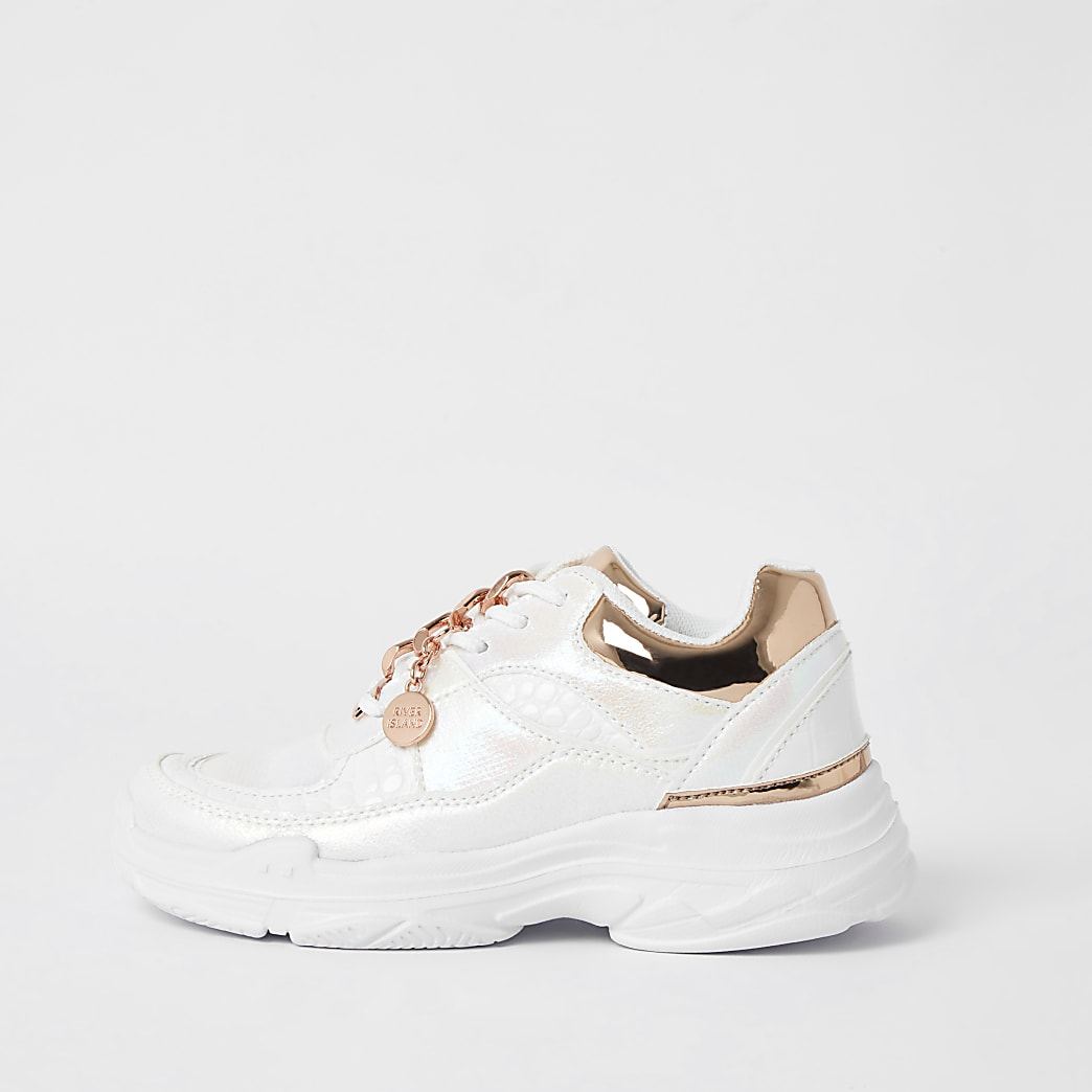 Girls white iridescent chunky trainers