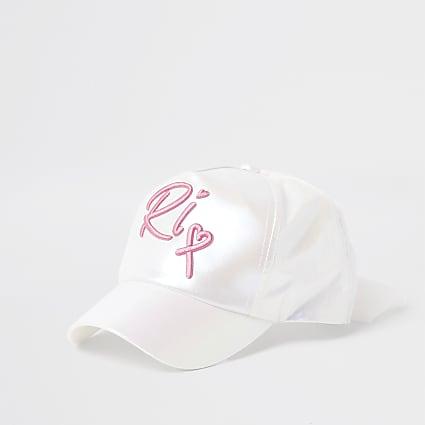 Girls white iridescent embroidered cap