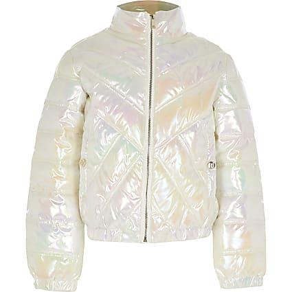 Girls white iridescent padded jacket