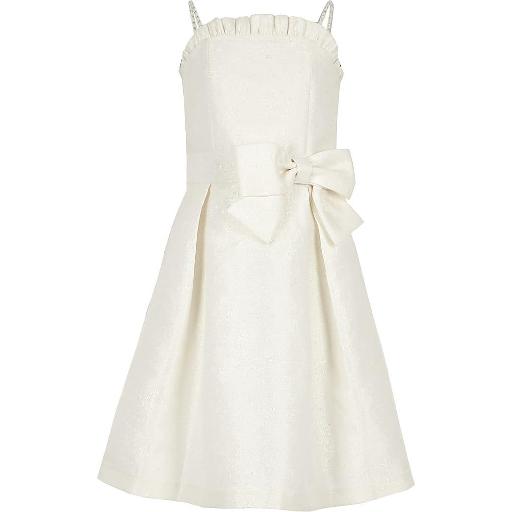Girls white jacquard flower girl dress
