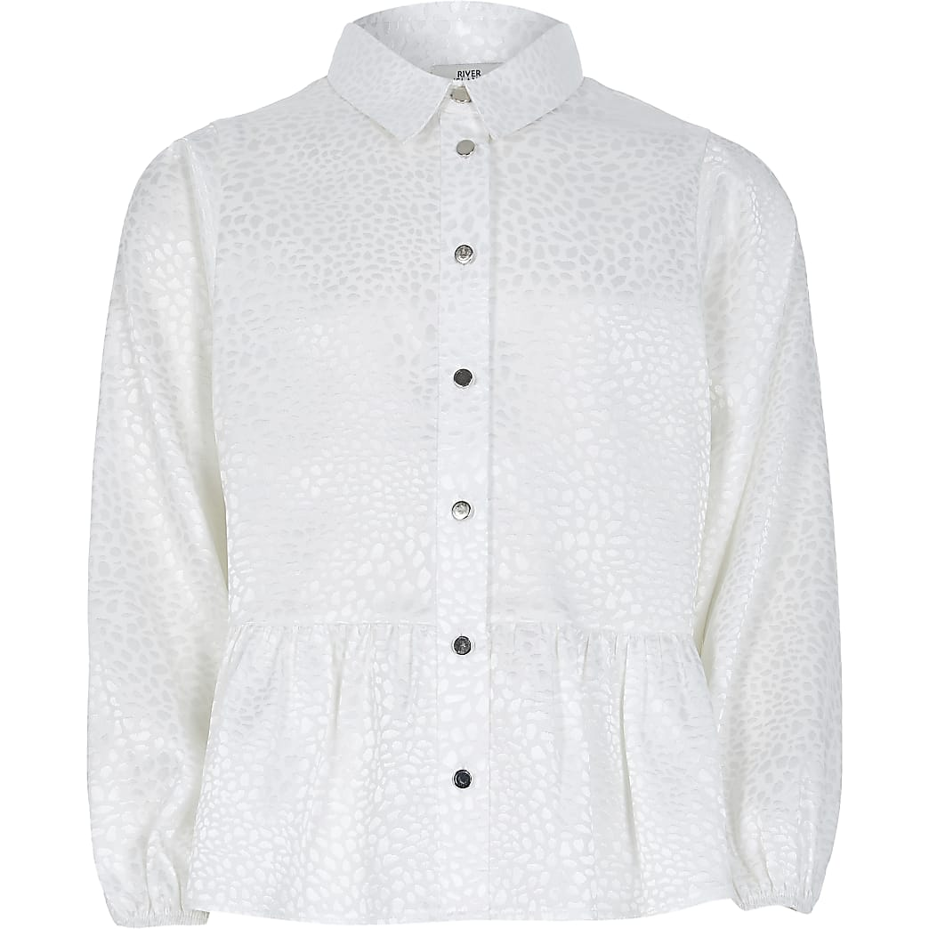 Girls white jacquard peplum hem shirt