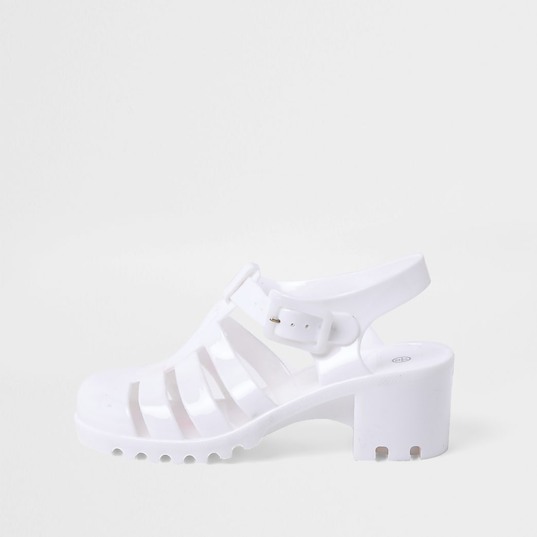Girls White Jelly Caged Heeled Sandal