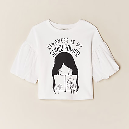 Girls white 'Kindness' print t-shirt