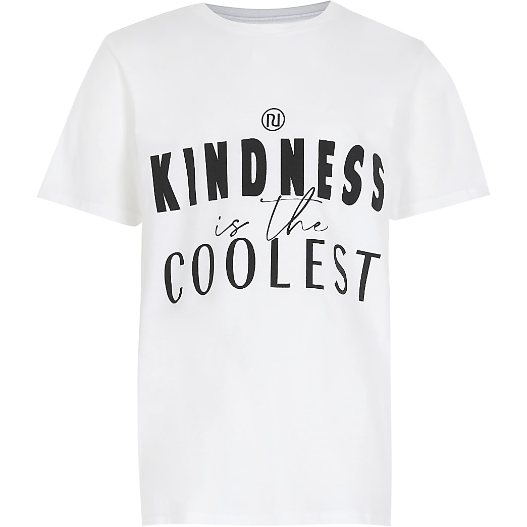 Girls white 'Kindness' print t-shirt