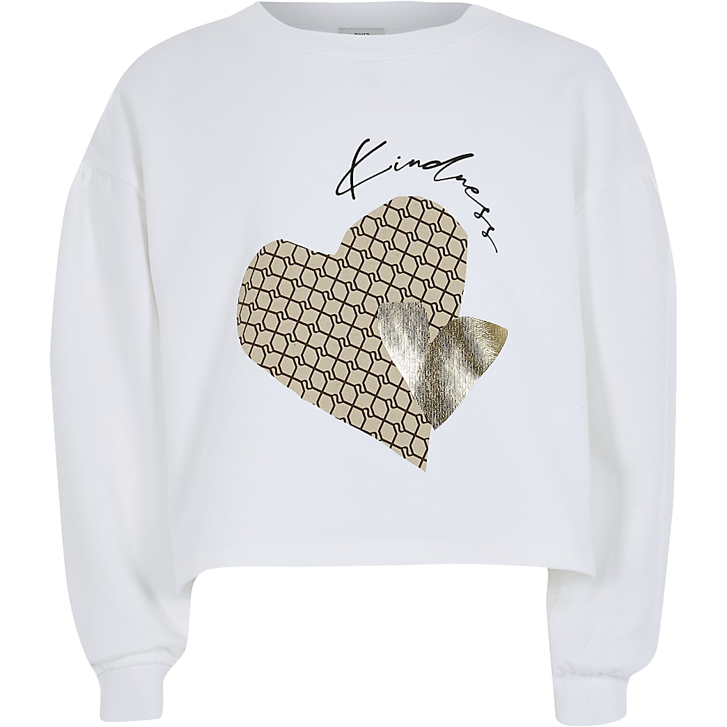 Girls white 'Kindness' sweatshirt
