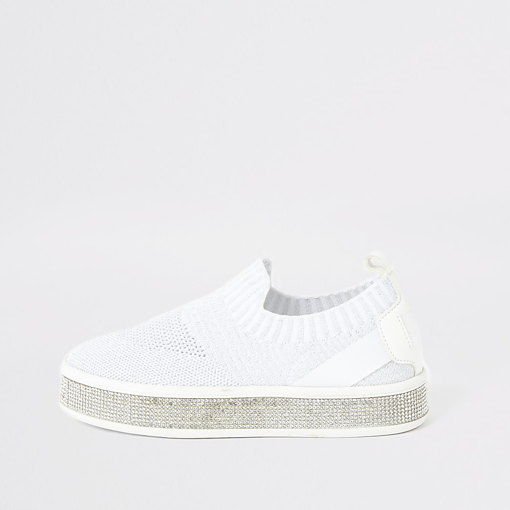 Girls white knitted diamante trainers