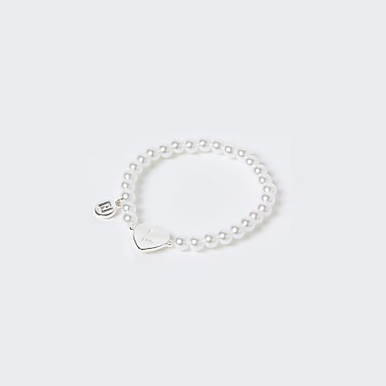 Girls white L initial bracelet
