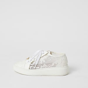 Girls white lace chunky sole lace-up trainers