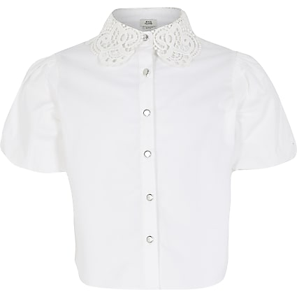 Girls white lace collar puff sleeve shirt