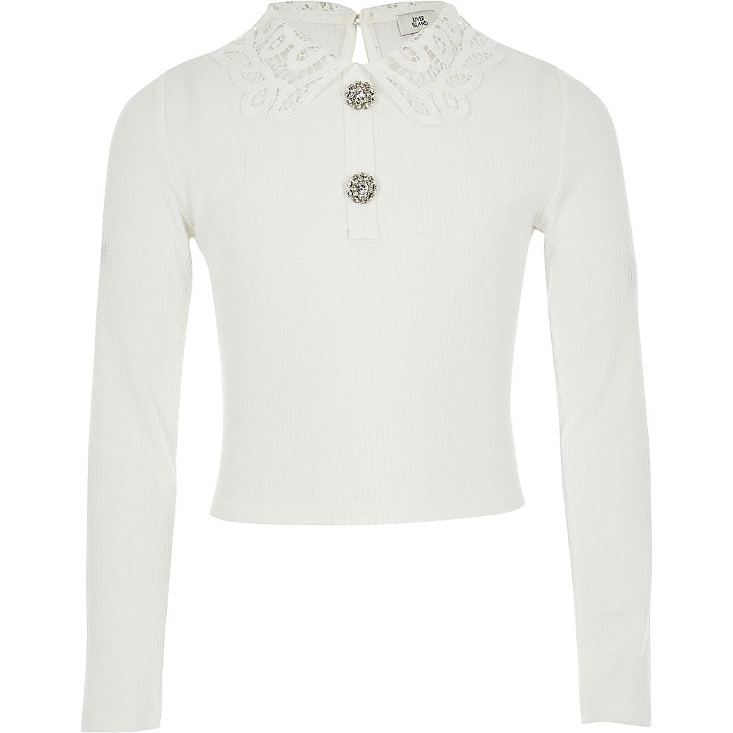 Witte geribbelde top met kanten kraag voor meisjes