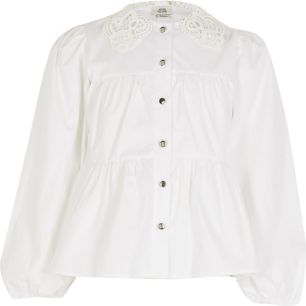 Girls white lace collar tiered shirt
