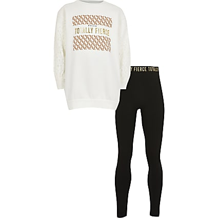 Girls white lace 'Fierce' sweat outfit