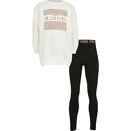 Girls white lace 'Fierce' sweat outfit