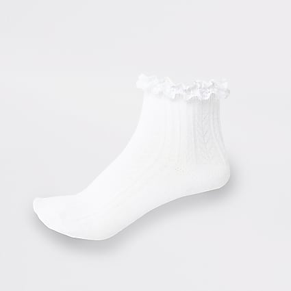 Girls white lace frill socks 2 pack