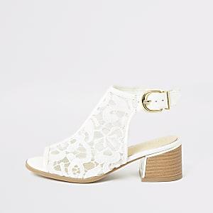 Witte laarzen met open teen en vetersluiting voor meisjes
