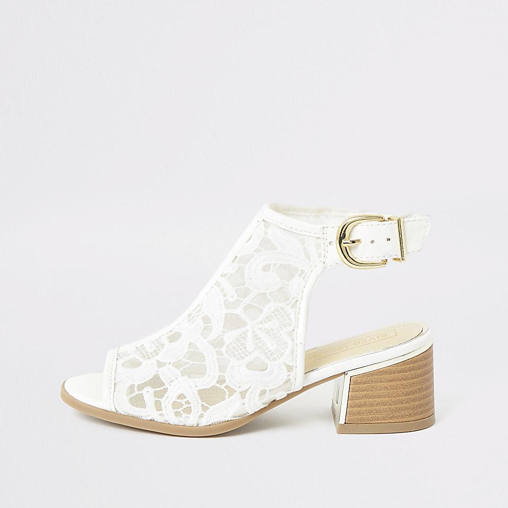 Girls white lace open toe heeled shoeboots