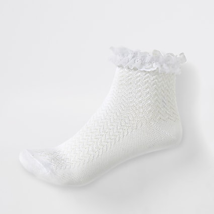 Girls white lace trim socks 2 pack