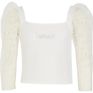 Witte top met 'L'amour'-print en stippen en mesh mouwen voor meisjes