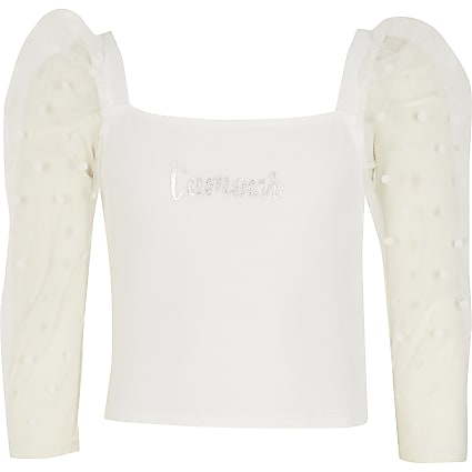 Girls white 'L'amour' dot mesh sleeve top