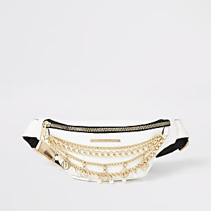 Girls white layered chain embellished bumbag