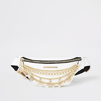 Girls white layered chain embellished bumbag