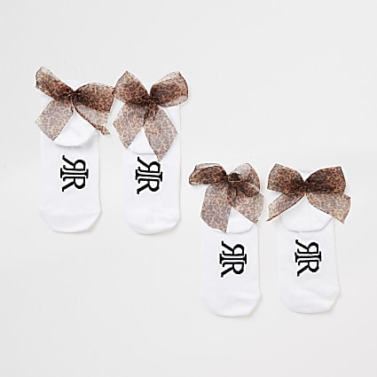 Girls white leopard bow back socks 2 pack