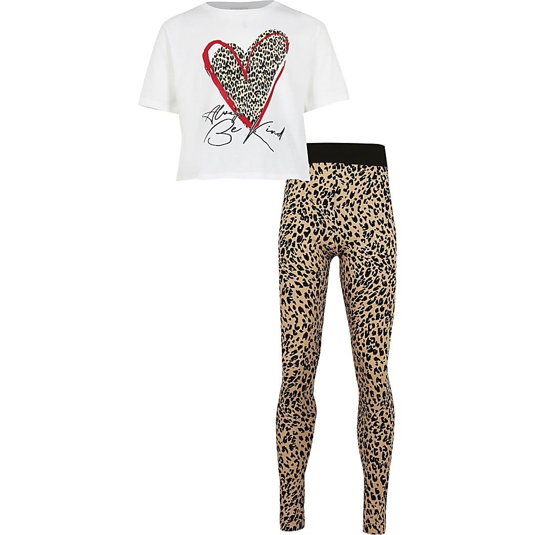Girls white leopard heart t-shirt outfit