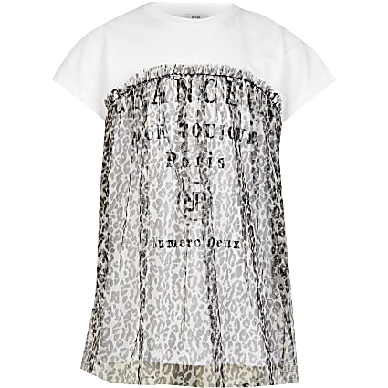 Girls white leopard mesh overlay t-shirt