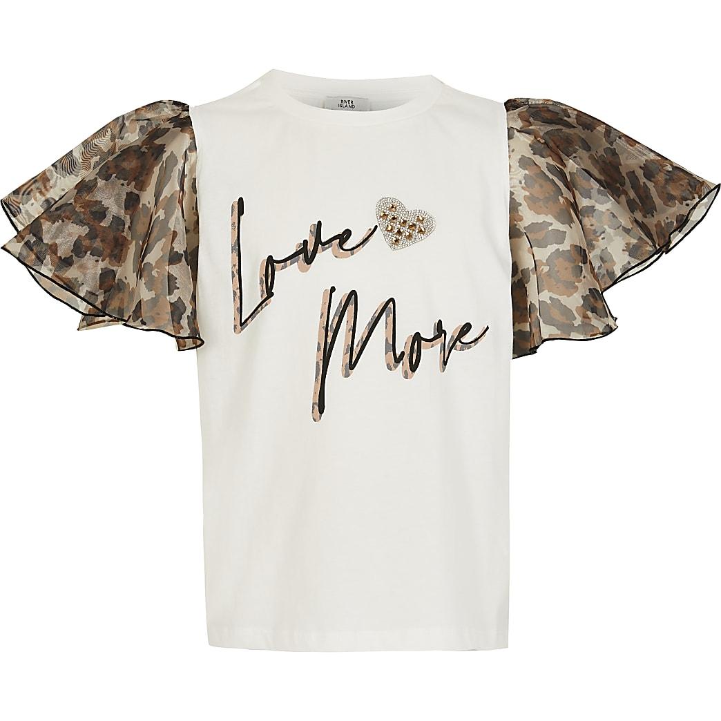 Girls white leopard organza sleeve t-shirt