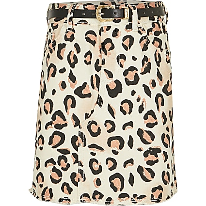 Girls white leopard print belted denim skirt