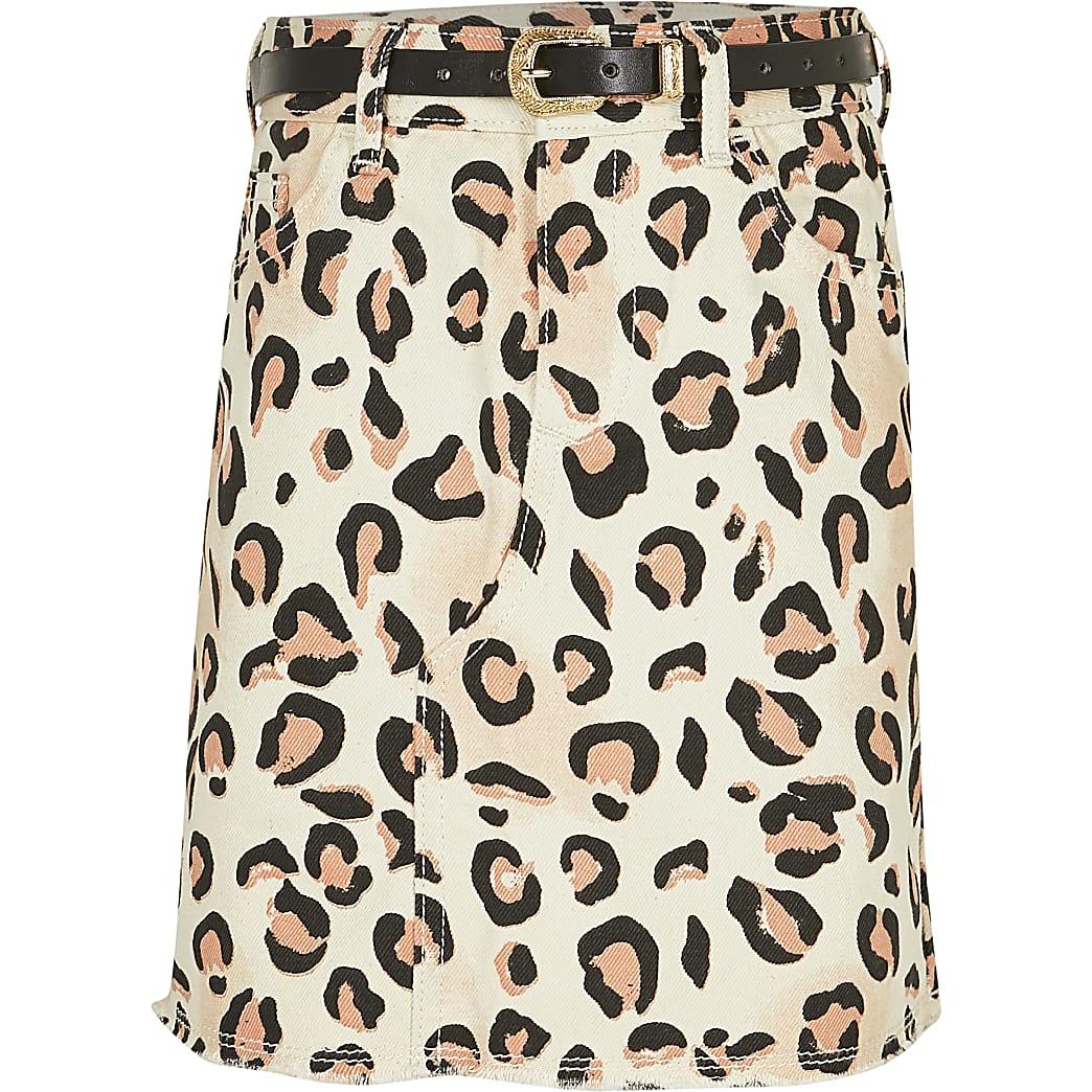 Girls white leopard print belted denim skirt