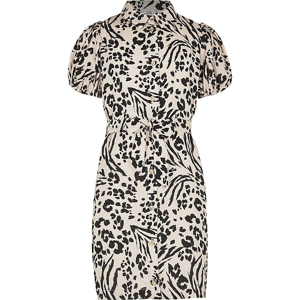 Girls white leopard print shirt dress