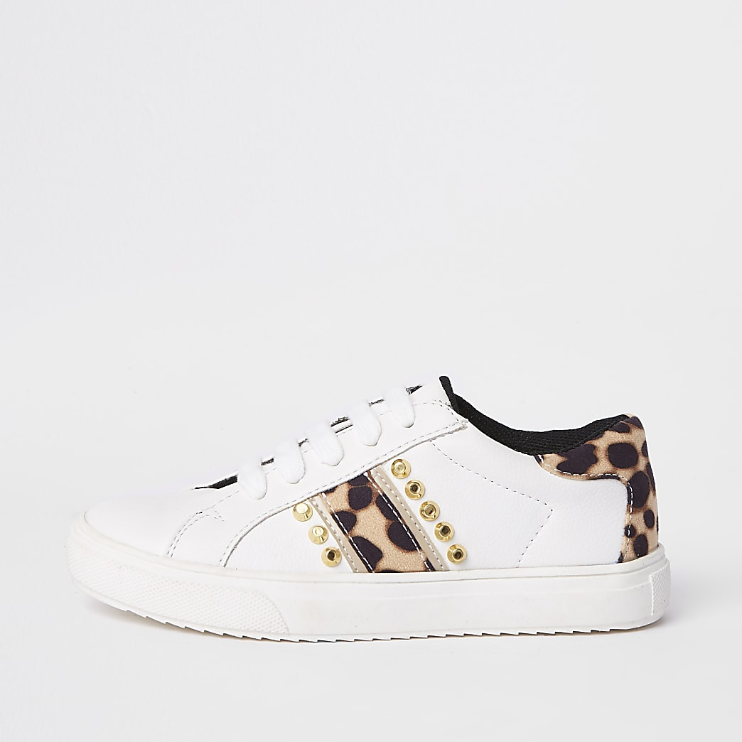 Girls white leopard print studded trainers