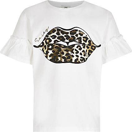Girls white leopard 'Sassy' lips t-shirt