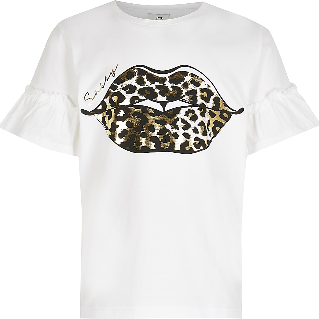 Girls white leopard 'Sassy' lips t-shirt