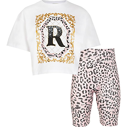 Girls white leopard t-shirt and shorts outfit
