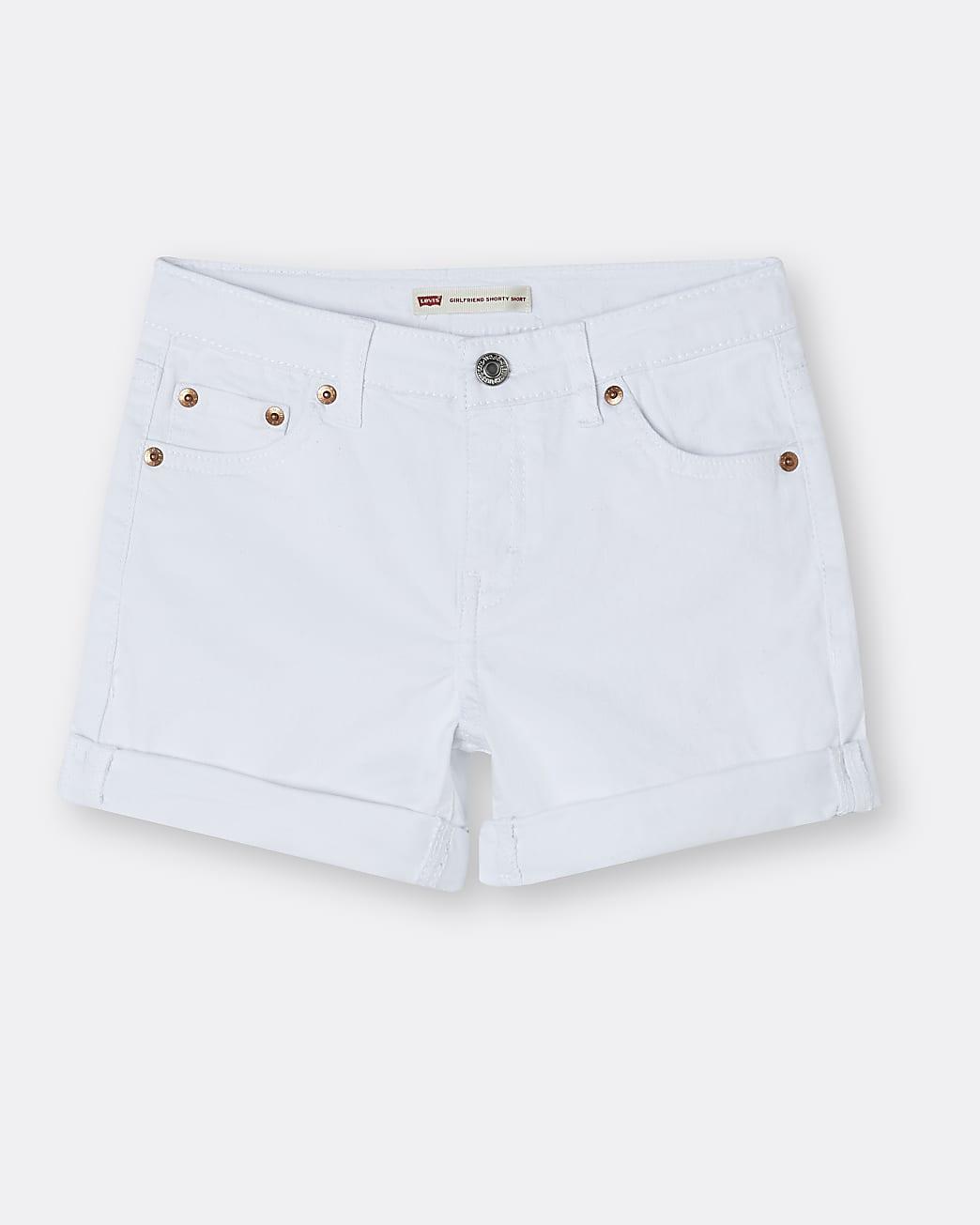 Girls white Levi's girlfriend shorts