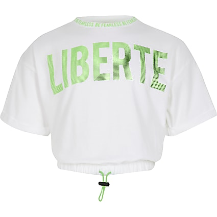 Girls white 'Liberte' print t-shirt