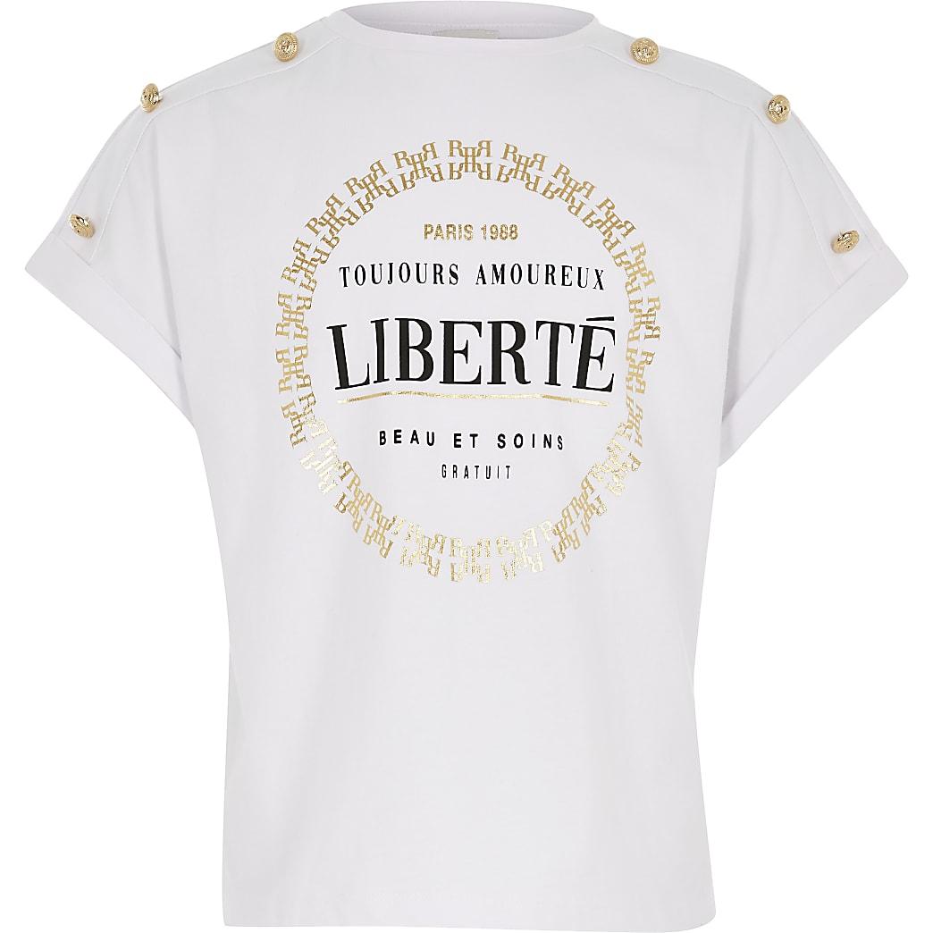 Girls white 'Liberte' printed t-shirt