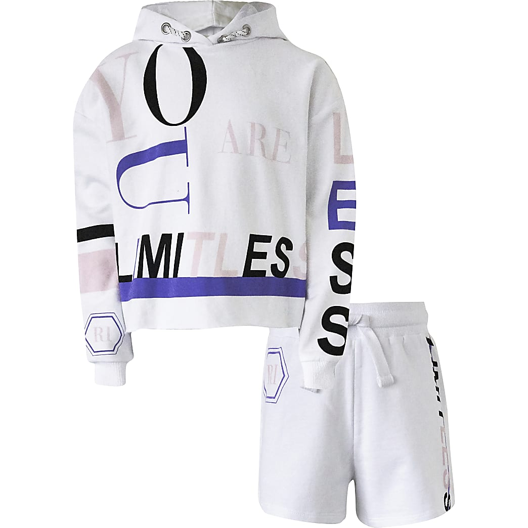 Girls white 'Limitless' hoodie shorts outfit