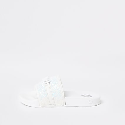 Girls white logo letter sliders