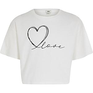 """Weißes, kurzes T-Shirt """"Love"""" für Mädchen"""