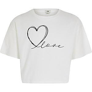 T-shirt court « Love » blanc pour fille