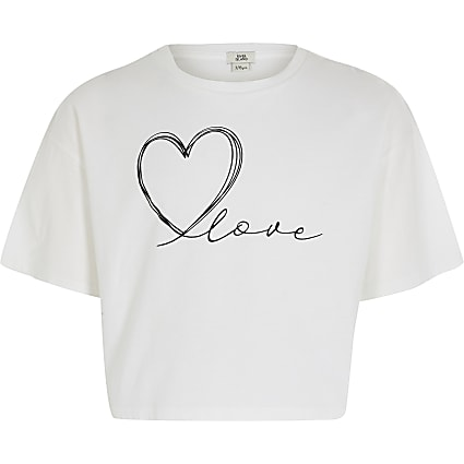 Girls white 'Love' cropped T-shirt