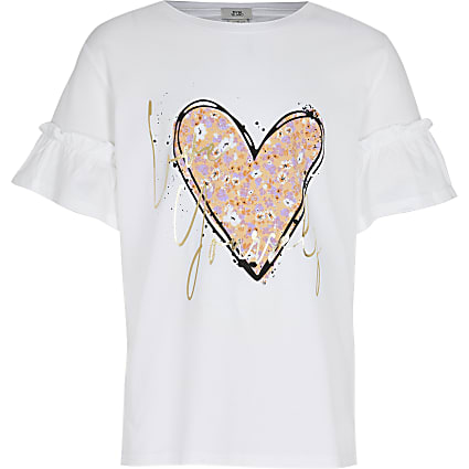 Girls white 'Love yourself' t-shirt